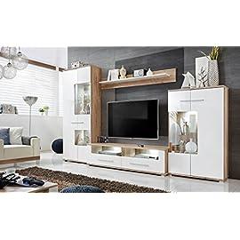 Wohnwand Salvador, Wohnzimmer, Weiß Eiche, Maße: 320x194x47cm