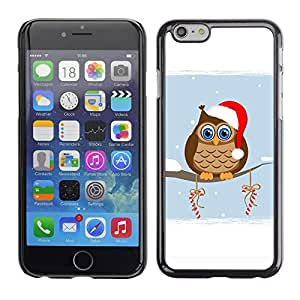 Paccase / SLIM PC / Aliminium Casa Carcasa Funda Case Cover para - Popular Owl Winter Elf Hat Red White Drawing Art Candy - Apple Iphone 6