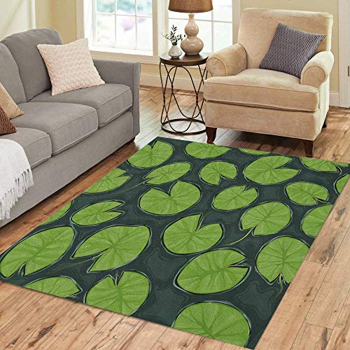 Pinbeam Area Rug Green Water Pond Lily Pads Top View Leaf Home Decor Floor Rug 5' x 7' Carpet (Lily Area Rug Pad)
