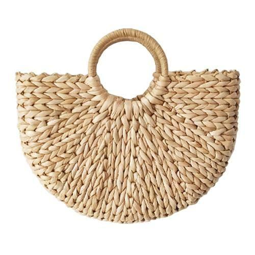 Women Half Moon Straw Handbag Female Summer Beach Bag Handmade Beach Handbags Knitted Hand Bags Bali bolsas - khaki 30x7x19cm - A437