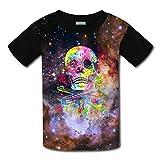 Aslgisy Badass Jewelry Skull Guns Casual T-Shirt Short Sleeve for Kids
