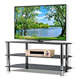 Yaheetech Black Glass TV Stand for Plasma LCD Flat Screen TVs Up to 60 Inch, 3 Tier Storage Shelf