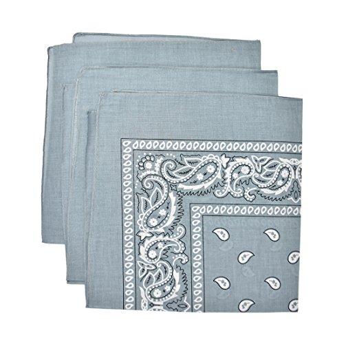 Set of 3 Large Cotton Paisley Bandanas - Light Grey