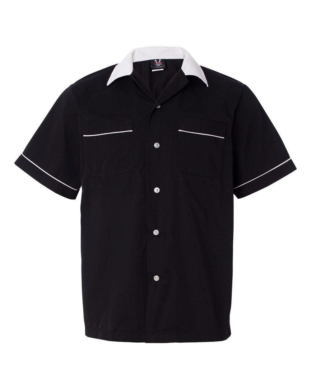 Hilton Men's Retro Legend Bowling Shirt, Black/ White, Small