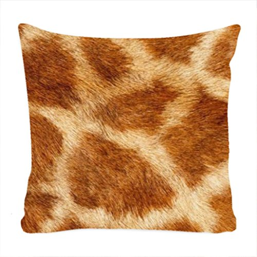 Giraffe Fur Pillow Case Cover 18 x 18 Inch Cushion Case Cover (Two Sides) (Fur Pillow Giraffe)