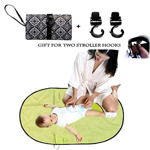 Waterproof Baby Changing Pad, Infants & Newborns Portable Diaper Changing Bag Mat,Foldable Travel Stroller Strap Convenience for Mothers Traveling and Outdoors, Gift for 2 Stroller Hook (Color -1)