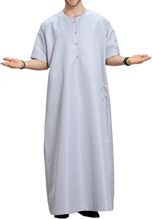 Amazon Co Jp Islamic Men S Clothes Abaya Robe Muslim Middle East Caftan By Arab Short Sleeves S Xxxl Clothing Accessories