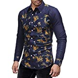 PASATO Classic Men's Autumn Winter Casual Print Pullover Long Sleeved T-shirt Top Blouse Clearance Sale(Navy, XL=US:L)