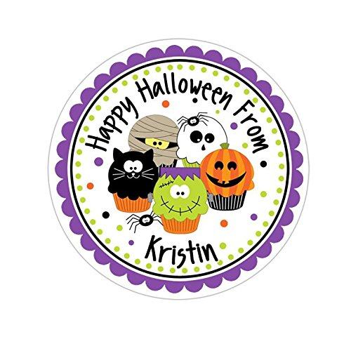 Personalized Customized Halloween Party Favor Thank You Stickers - Spooky Cupcakes - Round Labels - Choose Your Size ()