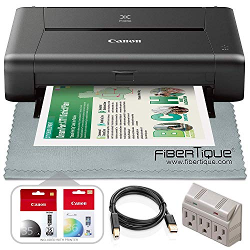 Canon PIXMA iP110 Wireless Mobile Inkjet Printer w/with Airprint(TM) and Cloud Compatible and Accessory Bundle with 3-Outlet + USB Cable + Fibertique Cloth