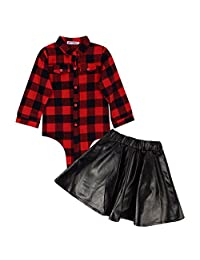 Baby jacket skirt suit Girls Outfits Clothes Toddler Kids Plaid Tops + Leather Skirt Dress 2PCS Set