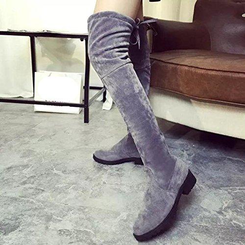 Ularma Damen Stretch Langschaft Overknee Stiefel Blockabsatz Schlanke Mid Heel Boots Grau