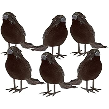 halloween black feathered small crows 6 pc black birds ravens props dcor halloween decorations birds - Halloween Crow Decorations