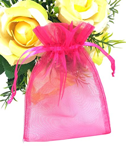 SumDirect 100Pcs 4″x6″ Sheer Drawstring Organza Jewelry Pouches Wedding Party Christmas Favor Gift Bags