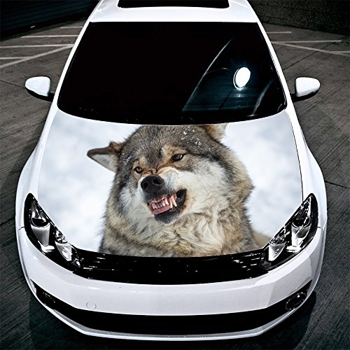 Wolf Full Color Sticker, Animal Car Hood Vinyl Sticker, Car Vinyl Graphics Decal, Wrap, Car Hood Graphics, fit any Vehicles MH46