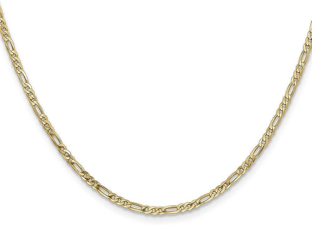 Brilliant Bijou 14k Yellow Gold Flat Figaro Chain Necklace
