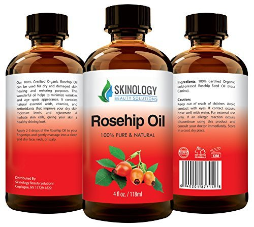 ORGANIC Rosehip Oil - 100% Pure Certified Organic Cold Pressed Virgin Rose Hip Seed Oil for Face, Skin, Nails & Hair - BEST NATURAL MOISTURIZER to heal Dry Skin, Scars and Fine Lines - 4 fl. oz
