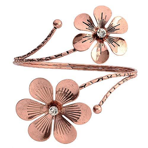 SENFAI 10K Gold Plated Swirl Upper Flower Arm Cuff Armlet Armband Bangle Bracelet for Womens (Antique Rose Gold)