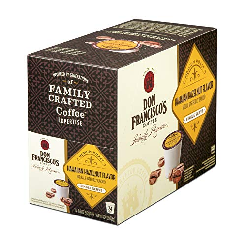 Don Francisco's Hawaiian Hazelnut Flavored (24 Pods) Single Cup Coffee Pods, Compatible with Keurig K-Cup Machines