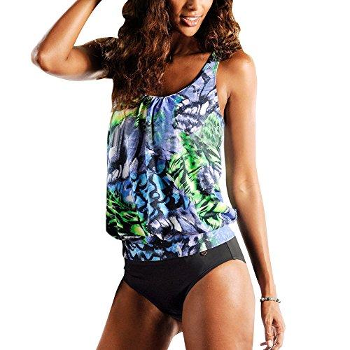 iBaste Traje de Baño Mujer Dos Piezas Bikini de Impresión Floral Conjunto Verde