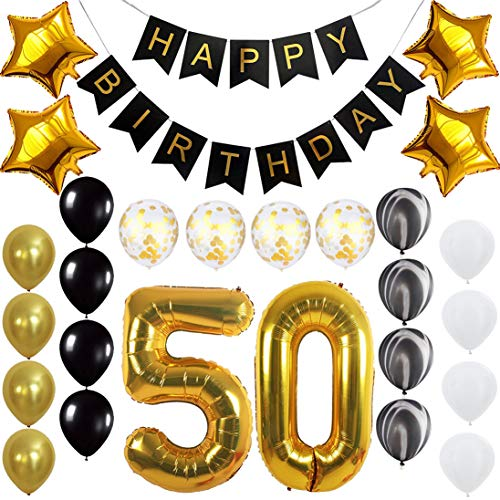 Happy 50th Birthday Banner Balloons Set for Fabulous 50 Years Old Birthday Party Decoration Supplies Gold -