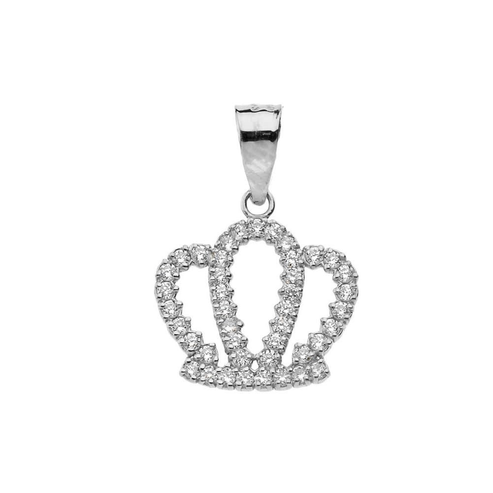 Exquisite 10k White Gold Radiant Diamond Royal Crown Pendant Necklace