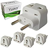 electrical adaptor type c - Yuauy 4 PCs 2 in 1 America US USA to EU Europe Euro Charger Adapter Wall Plug Power Jack Converter Grounded Travel Home White for GREECE SPAIN PORTUGAL CROATIA RUSSIA UKRAINE THAILAND INDONESIA CHILE