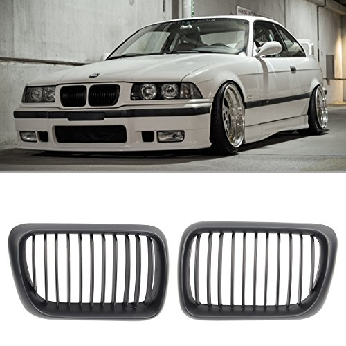(AUTOKAY 1 Pair of Front Kidney Matte Black Grill Grilles for E36 M3 97-99 BMW 3Series)