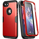 YOUMAKER Case for iPhone 8 & iPhone 7, Full Body Rugged with Built-in Screen Protector Heavy Duty Protection Slim Fit Shockproof Cover for Apple iPhone 8 (2017) 4.7 Inch - Red/Black