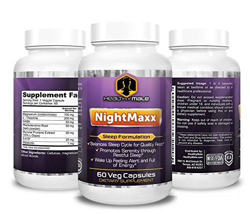 NightMaxx - Sleep Better, Natural Non Habit Forming Herbal Sleeping Supplement, Helps Eliminate Insomnia & Restless Nights, Wake Up Feeling Fresh and Alert - Featuring Melatonin, 5-HTP and L-Theanine