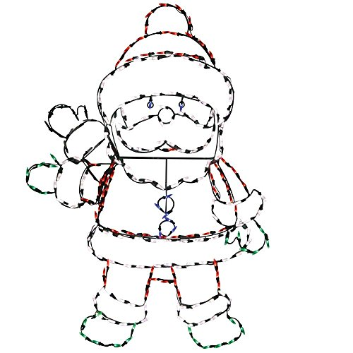 - Product Works 48-Inch Pro-Line Animotion Waving Santa Christmas Decoration with 200 LED Lights