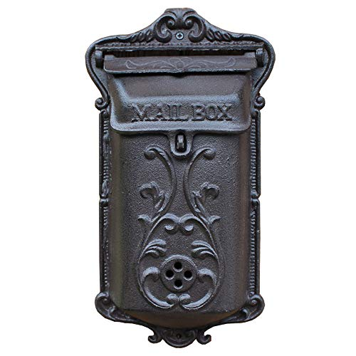 Sungmor Exquisite Heavy Duty Cast Iron Wall Mounted Mail Box   Retro Vintage Style Secure Lockable Letterbox   Nostalgic Indoor Outdoor Wall Decor-Twig
