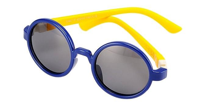 BOZEVON Gafas de Sol para Unisexo Niños Niñas Moda Flexible Rubber Deportivas Ronda Polarizadas Gafas,