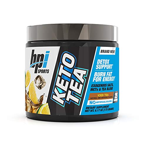BPI Sports Keto Tea - Hydration, Energy, Focus - BHB Salts, MCTs, EGCG - Detox Support - Keto Diet Support - Diuretic - for Men & Women - No Artificial Colors - Iced Tea - 25 Servings - 6.17 oz.