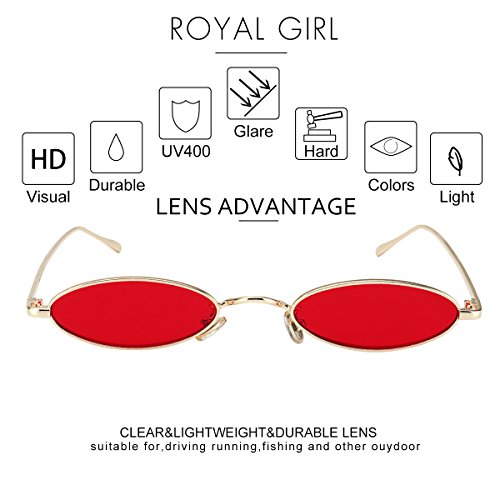 6c8516d7c3 ROYAL GIRL Vintage Oval Sunglasses Small Metal Frames Designer Gothic  Glasses