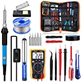 Soldering Iron Kit with Digital Multimeter, Rarlight 60W 110V Adjustable Temperature Welding Tool with ON/OFF Switch, Soldering Iron Tips, Desoldering Pump, Solder Wire, Tweezers, Stand, Screwdriver, Wire Stripper Cutter for Circuit Board Repair and Electronic DIY