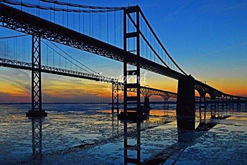 Chesapeake Bay Bridge (Wall Art Print entitled Chesapeake Bay Bridge Sunset Reflections by Bill Swartwout | 24 x 16)