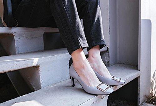 7cm 36 AJUNR finas Sandalias con 37 Moda para atar elegante Luz Transpirable gris salvaje high heels qAfPq