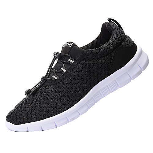 RIGCHO Men's Athletic Running Shoes Fashion Sneakers Lightweight Breathable Casual Mesh Soft Sole Shoes,Black,12US/46EU,MEN