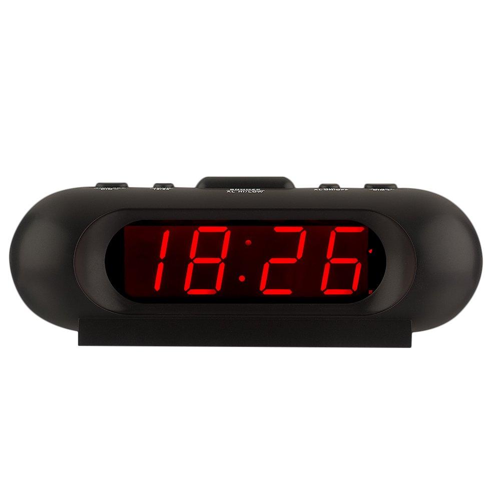 KWANWA Travel Loud LED Digital Alarm Clock High Volume up to 110db Battery Operated for Heavy Sleepers Sleek Design