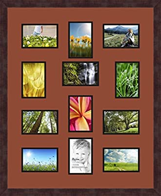 Art to Frames Double-Multimat-1062-815//89-FRBW26061 Collage Frame Photo Mat Double Mat with 12-5x7 Openings and Espresso Frame