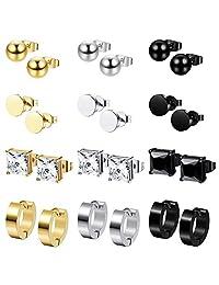 Milacolato 12 Pairs Stainless Steel Earrings for Mens Women CZ Square Stud Ball Earrings Round Hoop Huggies