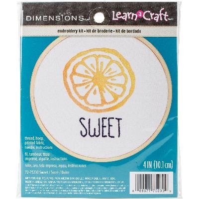 (Dimensions 'Sweet' Short N' Sweet Mini Embroidery Kit for Beginners, 4'')