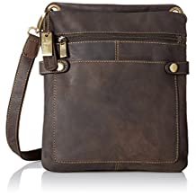 Visconti Distressed Leather Fashion Slim Cross-Body Messenger Bag, Brown, One Size