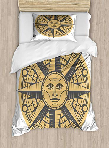 Vintage Nautical Tattoo Duvet Cover Set Twin Size Sun Face In A Compass Sign Pattern On Plain Background,2 Piece Bedding Set With With 1 Pillowcase For Kids Bedding,Purpleblue Pastel Brown ()