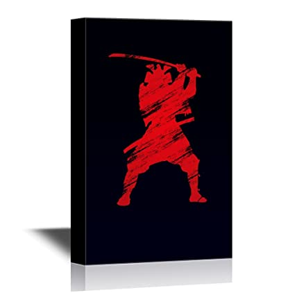wall26 - Japanese Culture Canvas Wall Art - Red Japanese Ninja with a Sword on Black Background - Gallery Wrap Modern Home Decor | Ready to Hang - ...