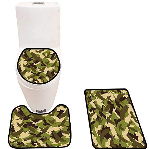 Bathroom Non-Slip Floor Mat Flying Open Wings Falc Hawk Theme Army Green Dark Brown Cream Machine-Washable