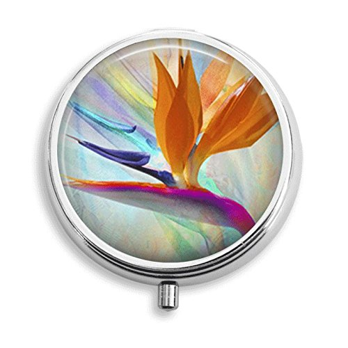 Exotic Flower Bird of Paradise Pill Box Pill Holder Pill Case Medicine Holder Decorative Box Mint Tin Vitamin Holder Small Craft Container Handmade Gifts For Her (Round Flowers Tin Colorful)