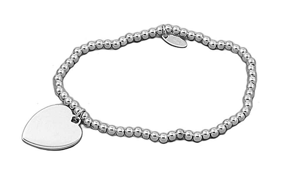 Sterling Silver (.925) Italian Charm Bracelet with Heart - Length: 7'' - Italian Design