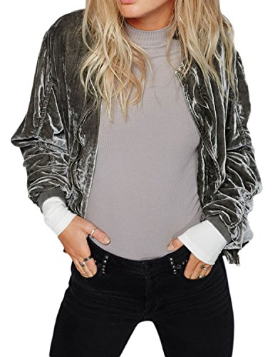 Richlulu Womens Crushed Velvet Ruched Hip Pockets Bomber Biker Jacket Blazer(L,Grey) (Jacket Ruched Pocket)